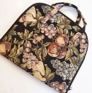 Vintage Fruit Tapestry Jewelry Roll Accessory Bag